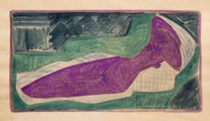 Hanna Krzetuska, bez tytułu, 1960, gwasz na papierze, wym. 61 x 34 cm